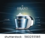 cosmetic cream ads  blue glossy ... | Shutterstock .eps vector #583255585