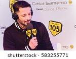 Small photo of Sanremo italy, February 7, 2017: Radio 105 interview Lesli and Alice Paba to Mango Lounge room Casa Sanremo Palafiori