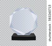 glass transparent trophy award. | Shutterstock .eps vector #583260715