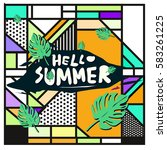 trendy vector summer cards...   Shutterstock .eps vector #583261225