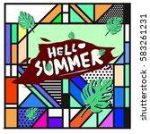trendy vector summer cards...   Shutterstock .eps vector #583261231