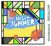 trendy vector summer cards...   Shutterstock .eps vector #583261249