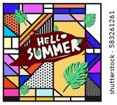 trendy vector summer cards...   Shutterstock .eps vector #583261261