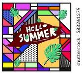 trendy vector summer cards...   Shutterstock .eps vector #583261279