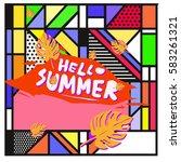 trendy vector summer cards...   Shutterstock .eps vector #583261321