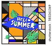 trendy vector summer cards...   Shutterstock .eps vector #583261369