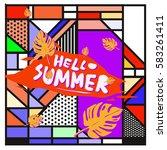 trendy vector summer cards...   Shutterstock .eps vector #583261411