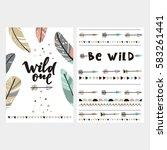 cute print in boho style.  | Shutterstock .eps vector #583261441