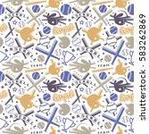 baseball seamless pattern | Shutterstock .eps vector #583262869