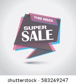 banner with super sale bubble... | Shutterstock .eps vector #583269247