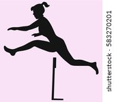 professional female hurdler in... | Shutterstock .eps vector #583270201