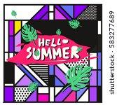 trendy vector summer cards...   Shutterstock .eps vector #583277689