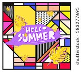 trendy vector summer cards...   Shutterstock .eps vector #583277695