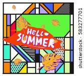 trendy vector summer cards...   Shutterstock .eps vector #583277701
