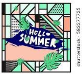 trendy vector summer cards...   Shutterstock .eps vector #583277725