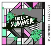 trendy vector summer cards...   Shutterstock .eps vector #583277779