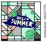 trendy vector summer cards...   Shutterstock .eps vector #583277791