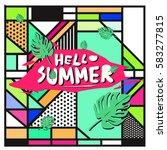 trendy vector summer cards...   Shutterstock .eps vector #583277815