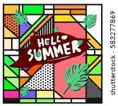 trendy vector summer cards...   Shutterstock .eps vector #583277869
