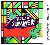 trendy vector summer cards...   Shutterstock .eps vector #583277875