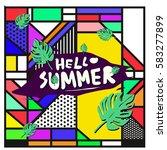 trendy vector summer cards...   Shutterstock .eps vector #583277899