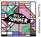 trendy vector summer cards...   Shutterstock .eps vector #583277911