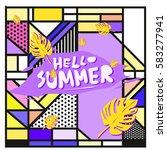 trendy vector summer cards...   Shutterstock .eps vector #583277941