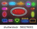 set of neon sign light at night ... | Shutterstock .eps vector #583278301