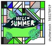 trendy vector summer cards...   Shutterstock .eps vector #583278919
