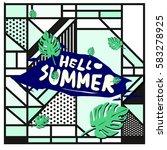 trendy vector summer cards...   Shutterstock .eps vector #583278925