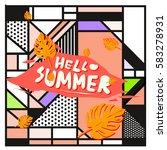 trendy vector summer cards...   Shutterstock .eps vector #583278931