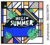 trendy vector summer cards...   Shutterstock .eps vector #583278979