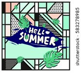 trendy vector summer cards...   Shutterstock .eps vector #583278985
