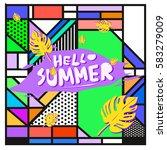 trendy vector summer cards...   Shutterstock .eps vector #583279009