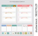 cute calendar daily planner... | Shutterstock .eps vector #583279129
