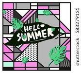 trendy vector summer cards...   Shutterstock .eps vector #583279135