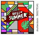 trendy vector summer cards...   Shutterstock .eps vector #583279141