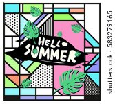trendy vector summer cards...   Shutterstock .eps vector #583279165