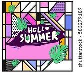 trendy vector summer cards...   Shutterstock .eps vector #583279189