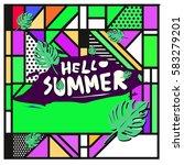 trendy vector summer cards...   Shutterstock .eps vector #583279201