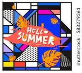 trendy vector summer cards...   Shutterstock .eps vector #583279261