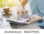 thai man typing a keypad of... | Shutterstock . vector #583279351