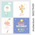 cute card set with spring and... | Shutterstock .eps vector #583279459