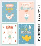 collection of easter greeting... | Shutterstock .eps vector #583279474