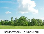 spring oak tree in green meadow ... | Shutterstock . vector #583283281