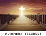 shine cross shape in the end of ... | Shutterstock . vector #583285315