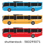set of amphibian bus or land... | Shutterstock .eps vector #583295071