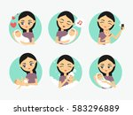 baby care icons. woman taking... | Shutterstock .eps vector #583296889