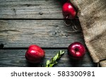 Red Apples On A Wooden...