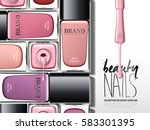 colorful nail lacquer ad  with... | Shutterstock .eps vector #583301395